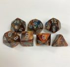 Signature Lustrous Gold with Silver Numbers. Polyhedral 7 Die Set from Chessex
