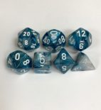 Signature Lustrous Slate with White Numbers. Polyhedral 7 Die Set from Chessex