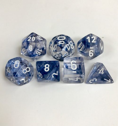 Signature Nebula Black with White Numbers. Polyhedral 7 Dice Set from Chessex