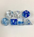 Signature Nebula Dark Blue with White Numbers Polyhedral 7 Dice Set from Chessex