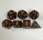 Signature Scarab Blue Blood with Gold Numbers. Polyhedral 7 Die Set from Chessex