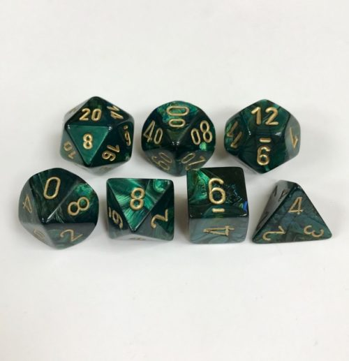 Signature Scarab Jade with Gold Numbers. Polyhedral 7 Die Set from Chessex