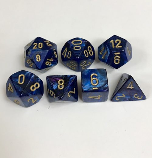 Signature Scarab Royal Blue with Gold Numbers. Polyhedral 7 Die Set from Chessex