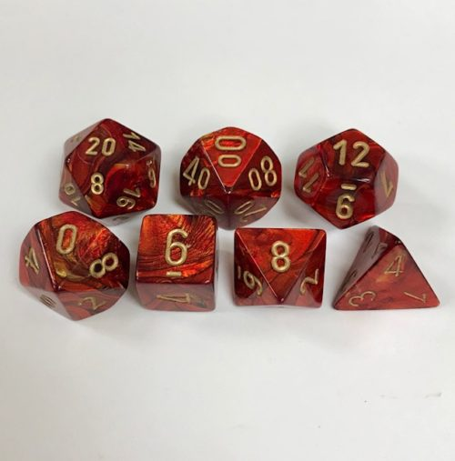 Signature Scarab Scarlet with Gold Numbers. Polyhedral 7 Die Set from Chessex