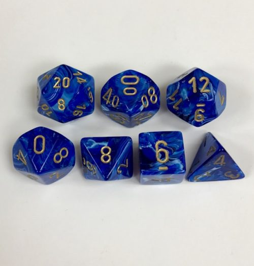 Signature Vortex Blue with Gold Numbers. Polyhedral 7 Dice Set from Chessex