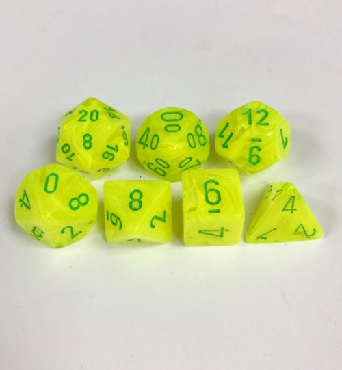 Signature Vortex Electric Yellow with Green Numbers. Polyhedral 7 Dice Set from Chessex