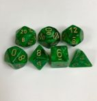 Signature Vortex Green with Gold Numbers. Polyhedral 7 Die Set from Chessex