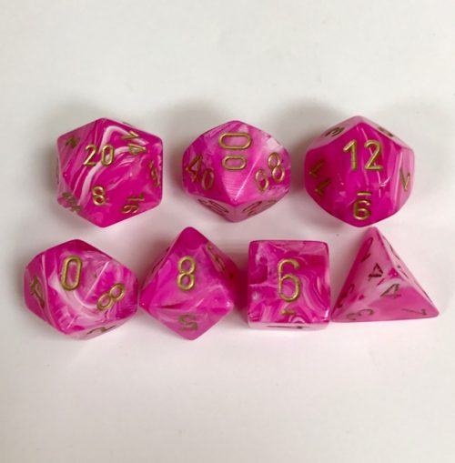 Signature Vortex Pink with Gold Numbers. Polyhedral 7 Die Set from Chessex