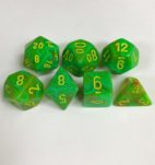 Signature Vortex Slime with Yellow Numbers. Polyhedral 7 Dice Set from Chessex