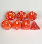 Signature Vortex Solar with White Numbers. Polyhedral 7 Die Set from Chessex