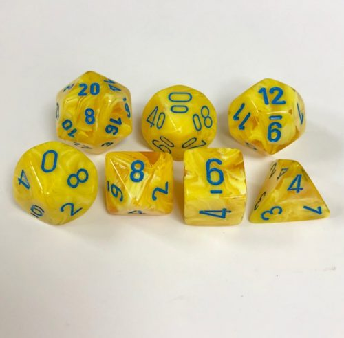 Signature Vortex Yellow with Blue Numbers. Polyhedral 7 Die Set from Chessex