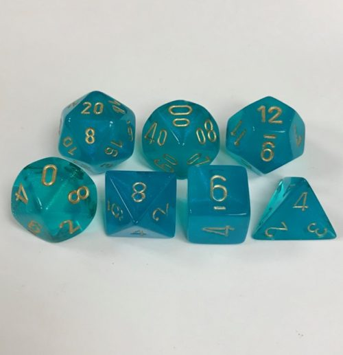Teal/gold set of 7 Dice