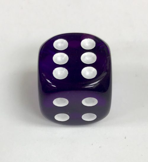 16mm Transparent Purple w/ White Pips Dice - DiceEmporium.com