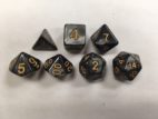 Black (Golden Font) Pearl Set of 7 Dice
