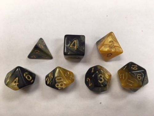 Black Yellow Blend Set of 7 Dice