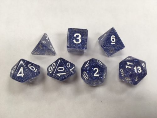 Blue Glitter Set of 7 Dice