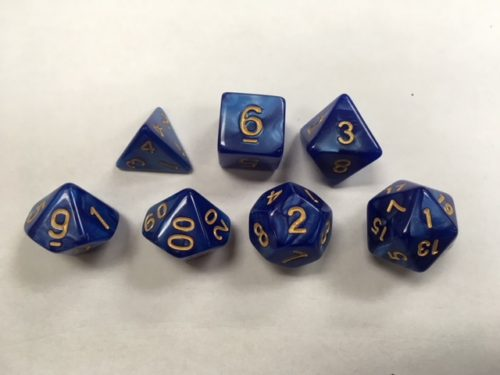 Blue (Golden Font) Pearl Set of 7 Dice