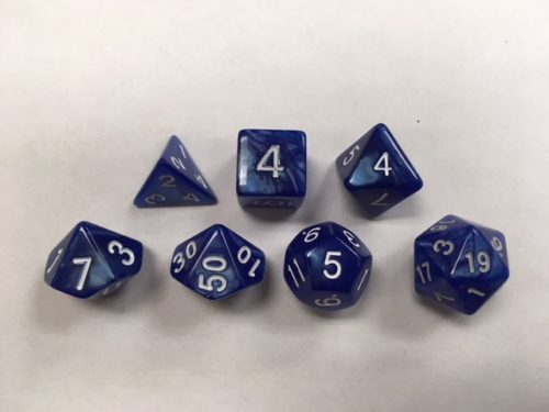 Blue Pearl Set of 7 Dice