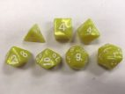 Bright Yellow Pearl Set of 7 Dice