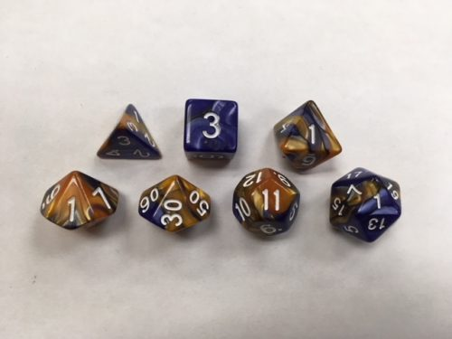 Dark Blue Gold Blend Set of 7 Dice