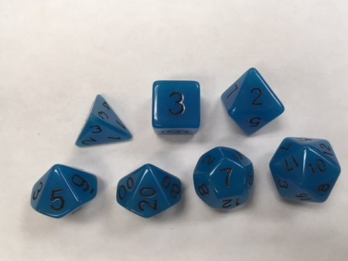 Glow in Dark Blue Set of 7 Dice