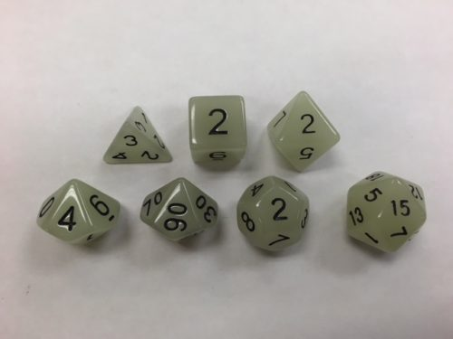 Glow in Dark White Set of 7 Dice
