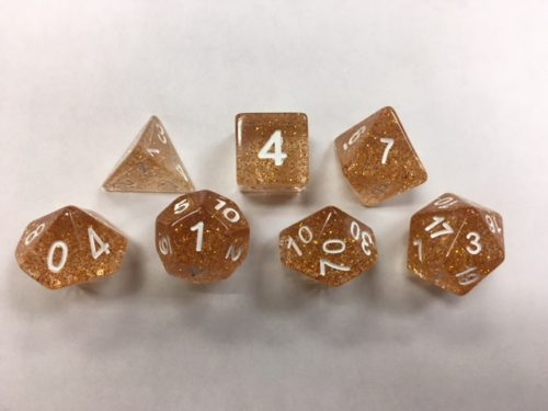 Gold Glitter Set of 7 Dice