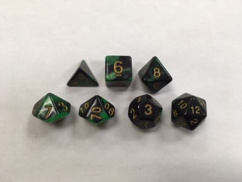 Green Black Blend Set of 7 Dice