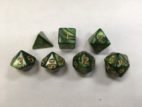 Green (Golden Font) Pearl Set of 7 Dice