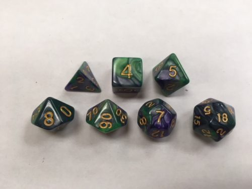 Green-Purple-Blend-Dice-Set