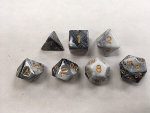 Opaque White Black Blend Set of 7 Dice