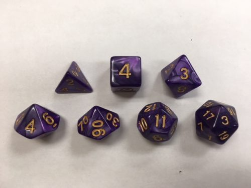 Purple with Golden Font Pearl Set of 7 Dice