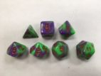 Purple Green Red Font Blend Set of 7 Dice