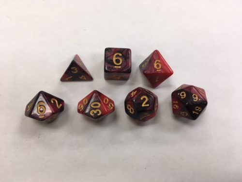 Red Black Blend Set of 7 Dice