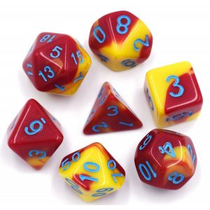 Red-Yellow-Blue-Font-Blend-Dice-Set