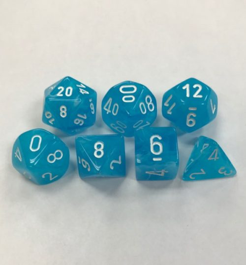 Set of 7 Polyhedral Dice from Chessex. Cirrus Light Blue with White Numbers