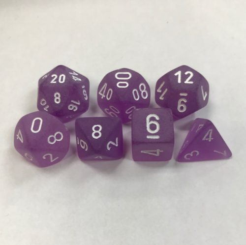 Puple with White Numbers. Polyhedral 7 Dice Set from Chessex