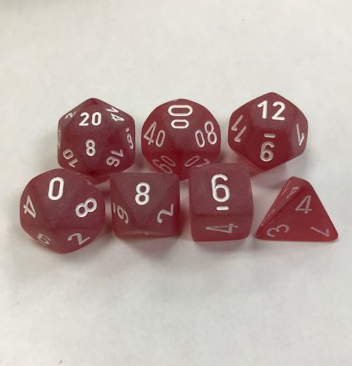 Frosted Red with White Numbers. Polyhedral 7 Dice Set from Chessex
