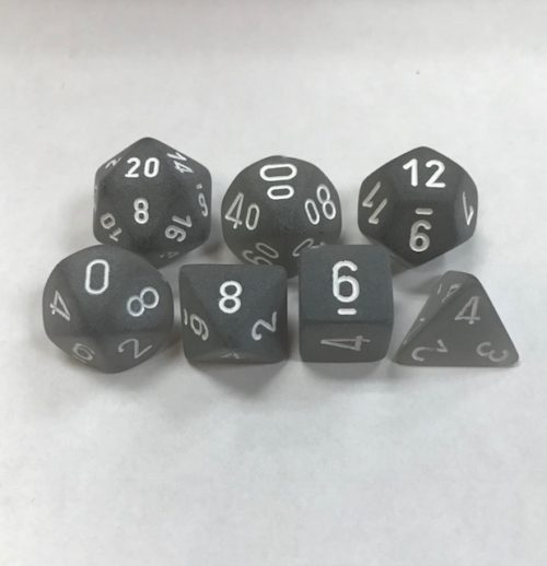 Smoke with White Numbers. Polyhedral 7 Dice Set from Chessex
