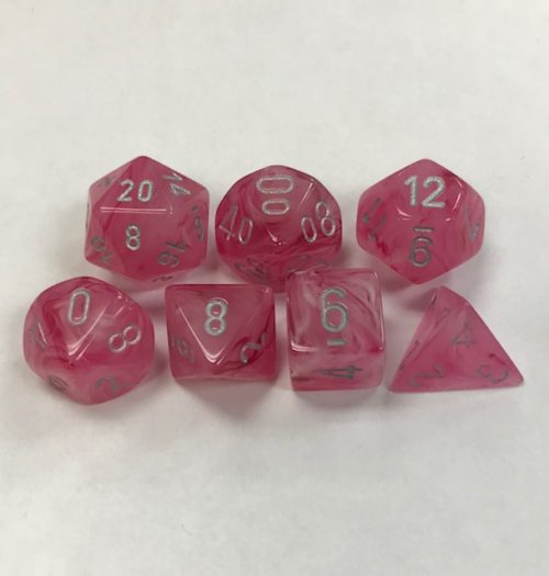 Signature Ghostly Glow Pink with Silver Numbers. Polyhedral 7 Die Set from Chessex