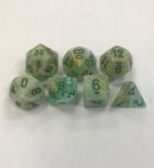 Signature Marble Green with dark Green Numbers. Polyhedral 7 Die Set from Chessex