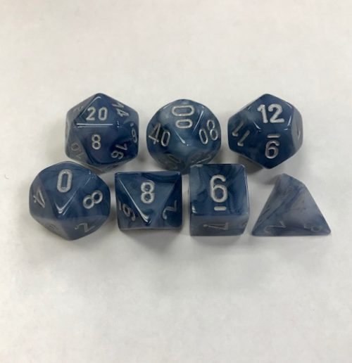 Signature Phantom Black with Silver Numbers. Polyhedral 7 Die Set from Chessex