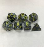 Signature Vortex Black with Yellow Numbers. Polyhedral 7 Die Set from Chessex