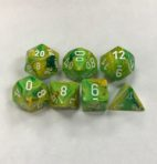 Signature Vortex Dandelion with White Numbers. Polyhedral 7 Die Set from Chessex