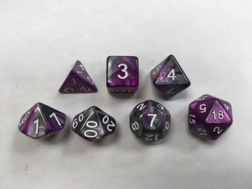 Silver Purple Blend Set of 7 Dice