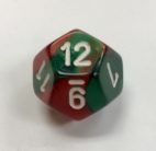 Gemini Green Red White D12 Dice - DiceEmporium.com