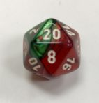 Gemini Green Red White D20 Dice - DiceEmporium.com