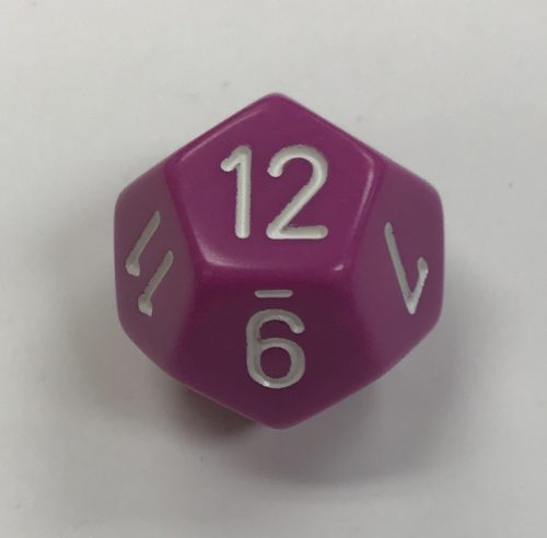 Opaque Light Purple/White d12 Dice - DiceEmporium.com
