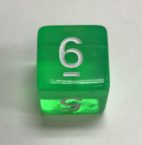 D6 Transparent Green White Numbers Dice - DiceEmporium.com