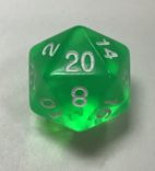 d20 20 Sided HD Clear Green White Dice - DiceEmporium.com
